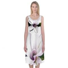 Magnolia Wit Aquarel painting art Midi Sleeveless Dress