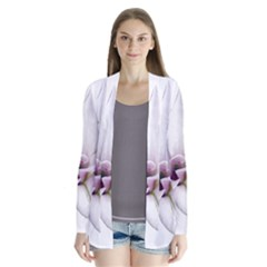 Magnolia Wit Aquarel Painting Art Drape Collar Cardigan