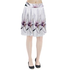Magnolia Wit Aquarel painting art Pleated Skirt