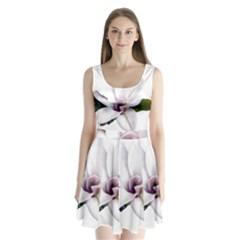 Magnolia Wit Aquarel Painting Art Split Back Mini Dress