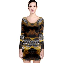 Textures Snake Skin Patterns Long Sleeve Bodycon Dress