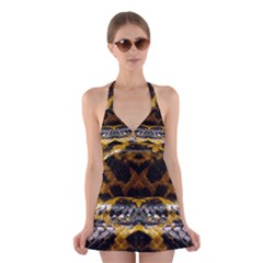 Textures Snake Skin Patterns Halter Swimsuit Dress