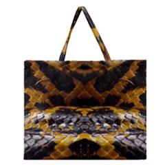 Textures Snake Skin Patterns Zipper Large Tote Bag