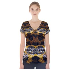 Textures Snake Skin Patterns Short Sleeve Front Detail Top