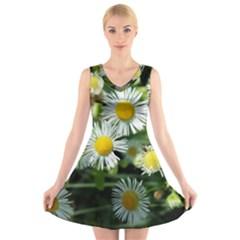 White Summer Flowers Oil Painting Art V Neck Sleeveless Skater Dress