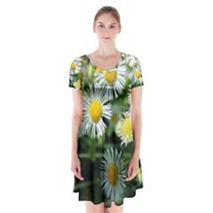 White Summer Flowers Oil Painting Art Short Sleeve V Neck Flare Dress