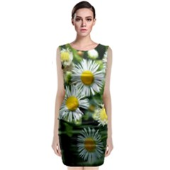 White Summer Flowers Oil Painting Art Classic Sleeveless Midi Dress