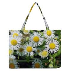 White Summer Flowers Oil Painting Art Medium Zipper Tote Bag