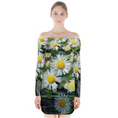 White summer flowers oil painting art Long Sleeve Off Shoulder Dress