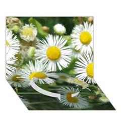 White Summer Flowers Watercolor Painting Art Circle Bottom 3d Greeting Card (7x5)