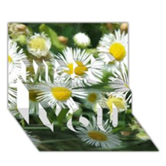 White summer flowers watercolor painting art Miss You 3D Greeting Card (7x5)