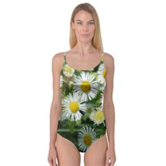 White summer flowers watercolor painting art Camisole Leotard