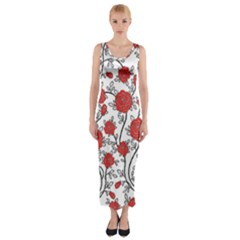 Texture Roses Flowers Fitted Maxi Dress