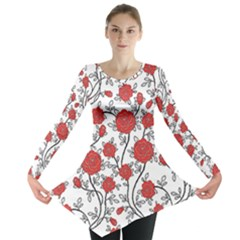 Texture Roses Flowers Long Sleeve Tunic