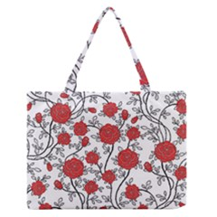 Texture Roses Flowers Medium Zipper Tote Bag