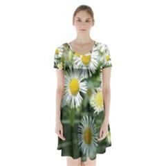 White summer flowers watercolor painting art Short Sleeve V-neck Flare Dress