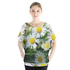 White Summer Flowers Watercolor Painting Art Blouse