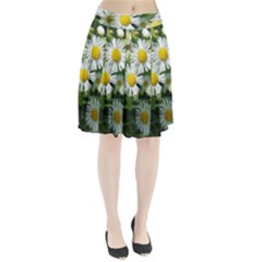 White summer flowers watercolor painting art Pleated Skirt