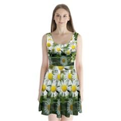 White Summer Flowers Watercolor Painting Art Split Back Mini Dress