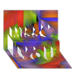 Texture Pattern Programming Processing Miss You 3D Greeting Card (7x5)