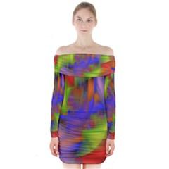 Texture Pattern Programming Processing Long Sleeve Off Shoulder Dress