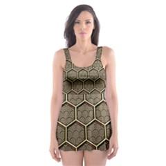 Texture Hexagon Pattern Skater Dress Swimsuit