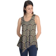 Texture Hexagon Pattern Sleeveless Tunic