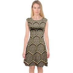 Texture Hexagon Pattern Capsleeve Midi Dress