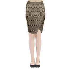 Texture Hexagon Pattern Midi Wrap Pencil Skirt