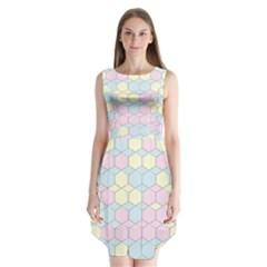 Colorful Honeycomb   Diamond Pattern Sleeveless Chiffon Dress