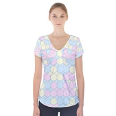 Colorful Honeycomb   Diamond Pattern Short Sleeve Front Detail Top