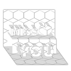 honeycomb - diamond black and white pattern Miss You 3D Greeting Card (7x5)