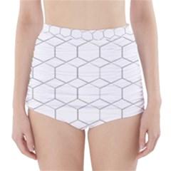Honeycomb   Diamond Black And White Pattern High Waisted Bikini Bottoms