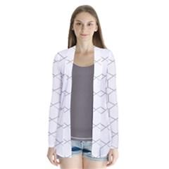 Honeycomb   Diamond Black And White Pattern Drape Collar Cardigan