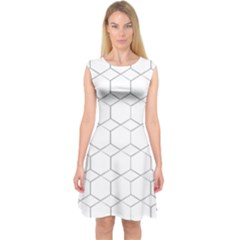 honeycomb - diamond black and white pattern Capsleeve Midi Dress