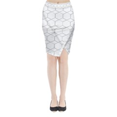 honeycomb - diamond black and white pattern Midi Wrap Pencil Skirt