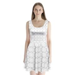 honeycomb - diamond black and white pattern Split Back Mini Dress