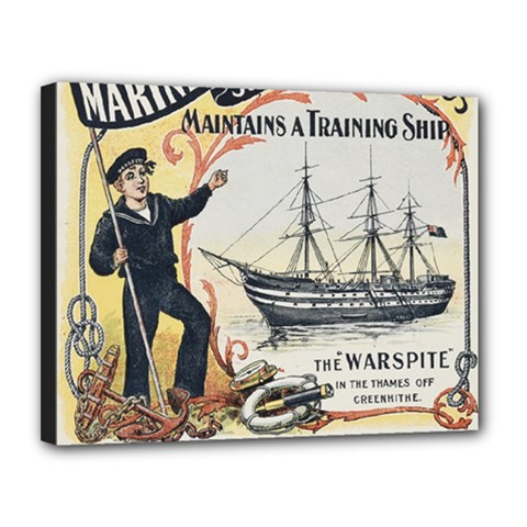 Vintage Advertisement British Navy Marine Typography Canvas 14  x 11