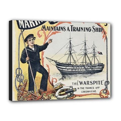 Vintage Advertisement British Navy Marine Typography Canvas 16  x 12