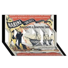 Vintage Advertisement British Navy Marine Typography MOM 3D Greeting Card (8x4)
