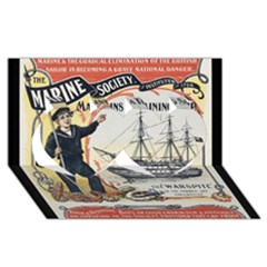 Vintage Advertisement British Navy Marine Typography Twin Hearts 3D Greeting Card (8x4)