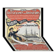 Vintage Advertisement British Navy Marine Typography Heart Bottom 3D Greeting Card (7x5)