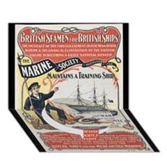 Vintage Advertisement British Navy Marine Typography Circle Bottom 3D Greeting Card (7x5)
