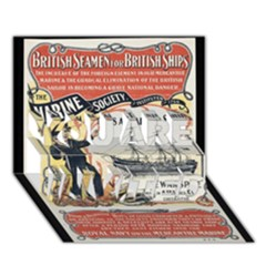 Vintage Advertisement British Navy Marine Typography YOU ARE INVITED 3D Greeting Card (7x5)