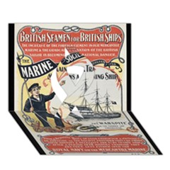 Vintage Advertisement British Navy Marine Typography Ribbon 3D Greeting Card (7x5)