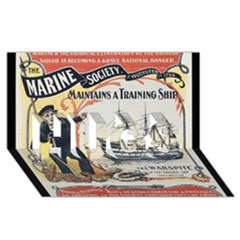 Vintage Advertisement British Navy Marine Typography HUGS 3D Greeting Card (8x4)