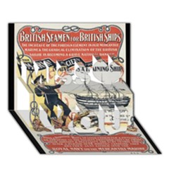 Vintage Advertisement British Navy Marine Typography Miss You 3d Greeting Card (7x5)
