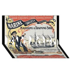 Vintage Advertisement British Navy Marine Typography ENGAGED 3D Greeting Card (8x4)