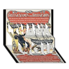 Vintage Advertisement British Navy Marine Typography THANK YOU 3D Greeting Card (7x5)