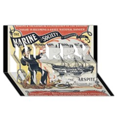 Vintage Advertisement British Navy Marine Typography Merry Xmas 3D Greeting Card (8x4)